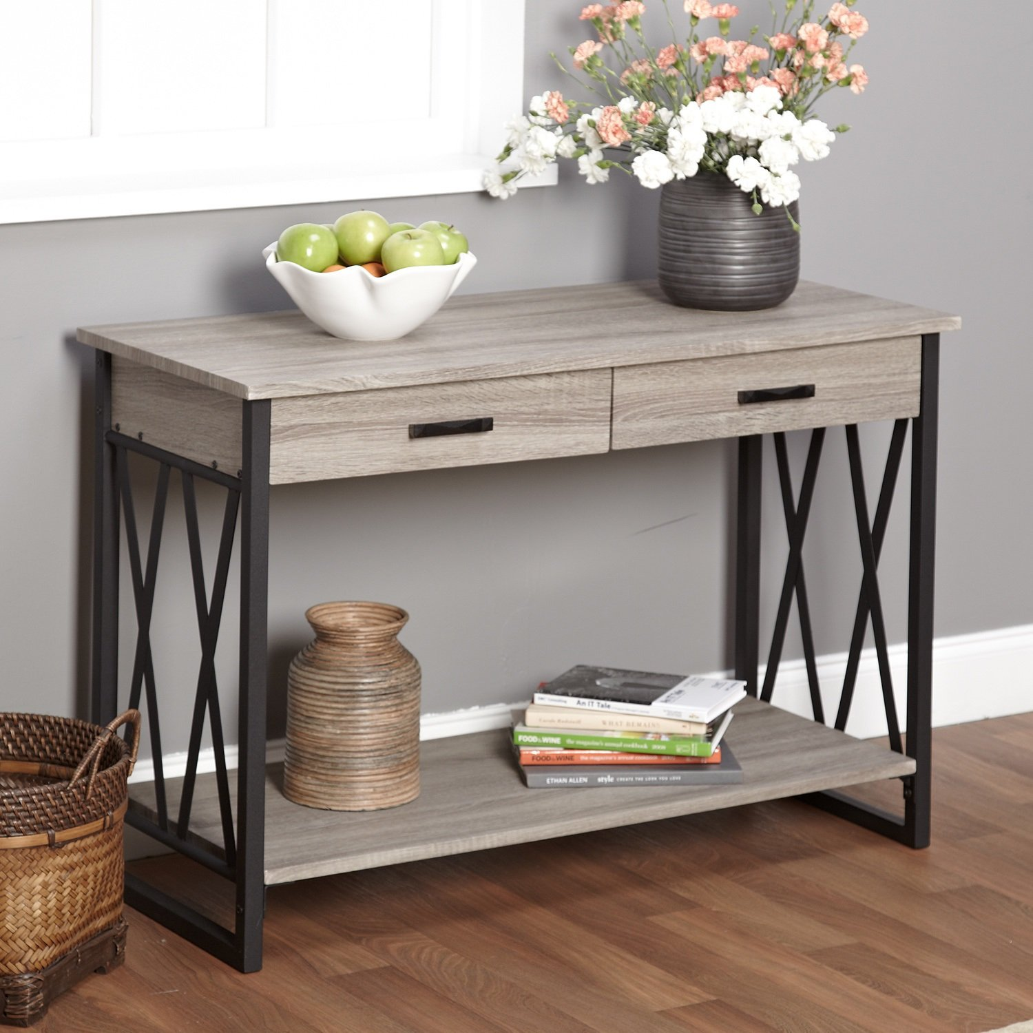 Amazon.com: Metro Shop Seneca XX Black/ Grey Reclaimed Wood Sofa Table *:  Kitchen U0026 Dining