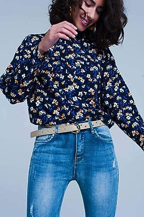 Q2 Camisa con Estampado de Flores en Azul Marino y Manga Larga, M Mujeres: Amazon.es: Ropa y accesorios