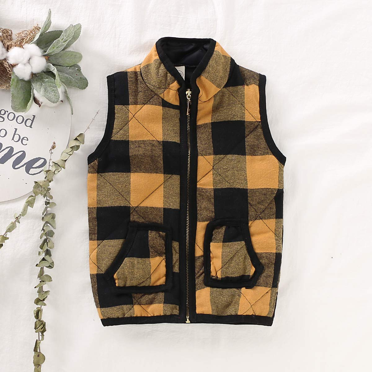 Kid Little Girls Puffer Lightweight Plaid Quilted Vest Cute Winter Outwear Padded Outfit