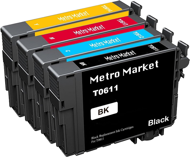 Metro Market 4 Piezas Reemplazo para Epson T0611-T0614 (T0615 ...