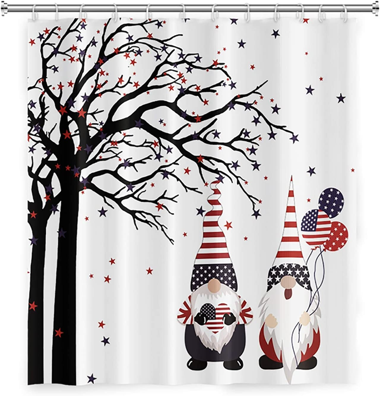 LFEEY Independence Day Patriotic Gnome Shower Curtain 4th of July Cute American Flag Gnome Pulling Balloons in Star Tree Funny Bathroom Decor 47x72 Inch Polyester Fabric