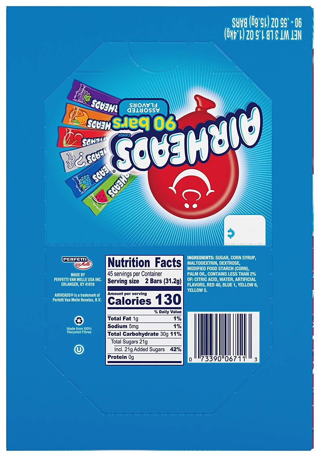 Airheads Bars, Chewy Fruit Candy, Easter Basket Stuffers, Variety Pack, Party, Non Melting, 90Count (Packaging May Vary), 2 Pack by Airheads (Image #1)