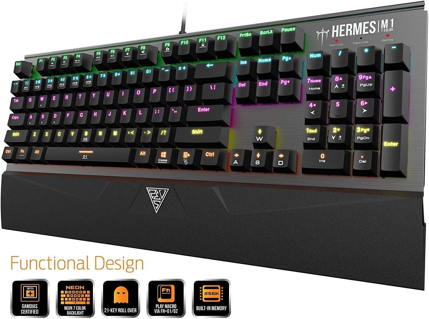GAMDIAS Hermes M1 - Teclado mecánico USB para Gaming 104, Color marrón, antighosting Keyboard retroiluminado, 7 Colores RGB, diseño británico