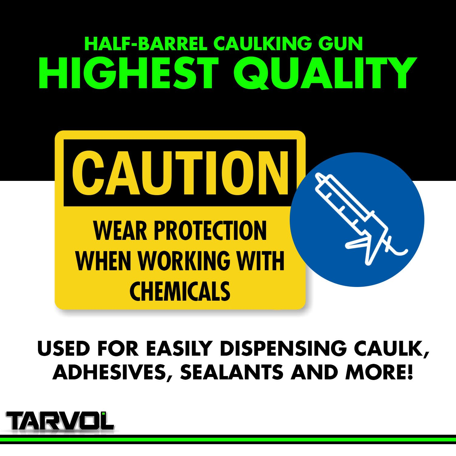 3 in 1 Caulking Gun (HEAVY DUTY CHROME PLATED) Fits Standard Size 10oz Caulk - Refillable 3 in 1 Design Includes Built in Cutter and Puncher Tool - Perfect for Industrial & Home Use! by Tarvol (Image #6)