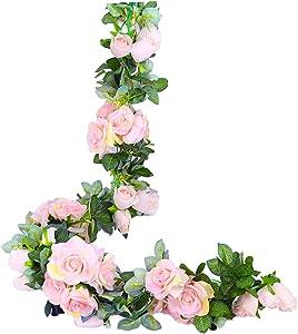LNHOMY 2 PCS 13 FT Artificial Rose Garland Flower Silk Rose Ivy Vine Fake Hanging Plants Home Wedding Party Garden Craft Art Décor (Pink)