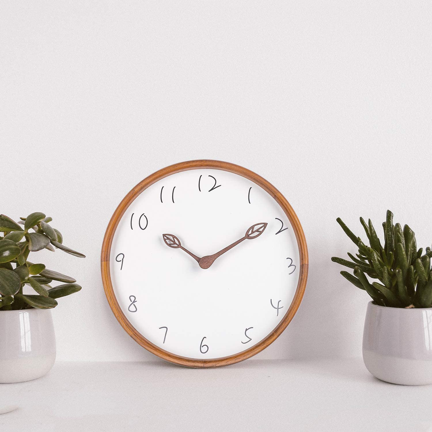 BEW Wooden Wall Clock, Laser Engraved Handwriting Fonts Decorative Wall Clock, Silent Non-Ticking Hanging Clock for Bedroom, Living Room, Kitchen, Cafe, Office - 12 Inch, Leafs Hands