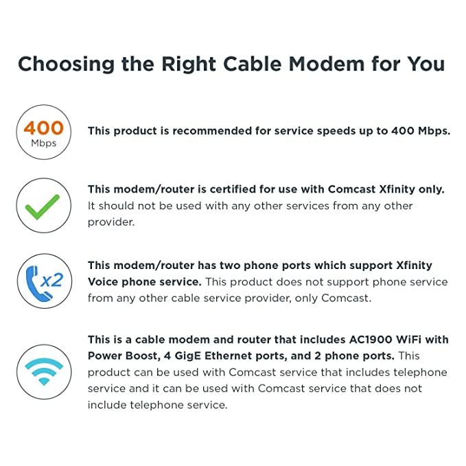 MOTOROLA MT7711 24X8 Cable Modem/Router with Two Phone Ports, DOCSIS 3 0  Modem, and AC1900 Dual Band WiFi Gigabit Router, for Comcast XFINITY  Internet
