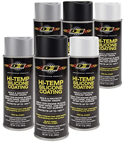 Design Engineering 010300 High-Temperature Silicone Coating Spray  Assortment Case - 2 Cans Each of Black, Aluminum, and White