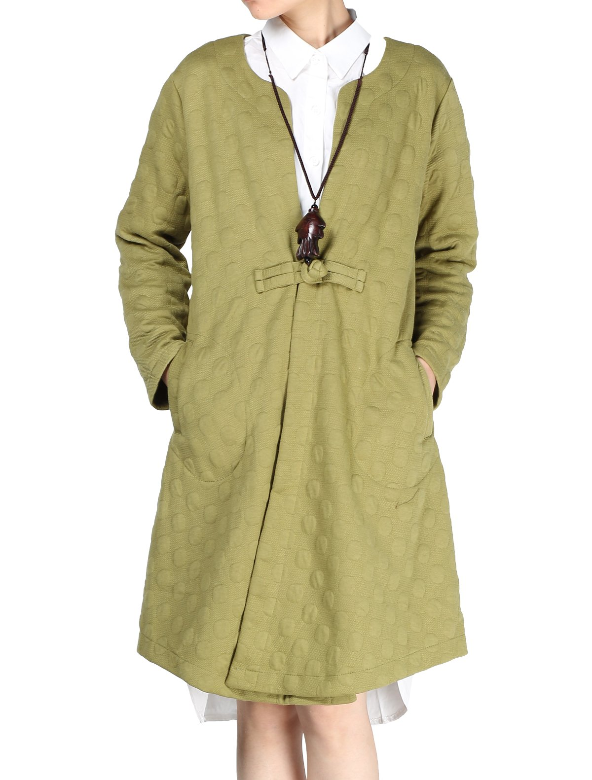 Mordenmiss Women's Long Sleeves One Chinese Frog Button Trench Coat Pockets(Large, Style 1-Green)