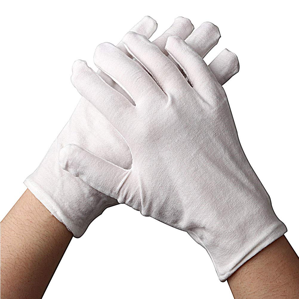 Coogain 12 Pairs White Cotton Glove, XL Size Thick Soft Work Gloves for Dry Hand Moisturizing Cosmetic Eczema Hand Spa and Coin Jewelry Inspection