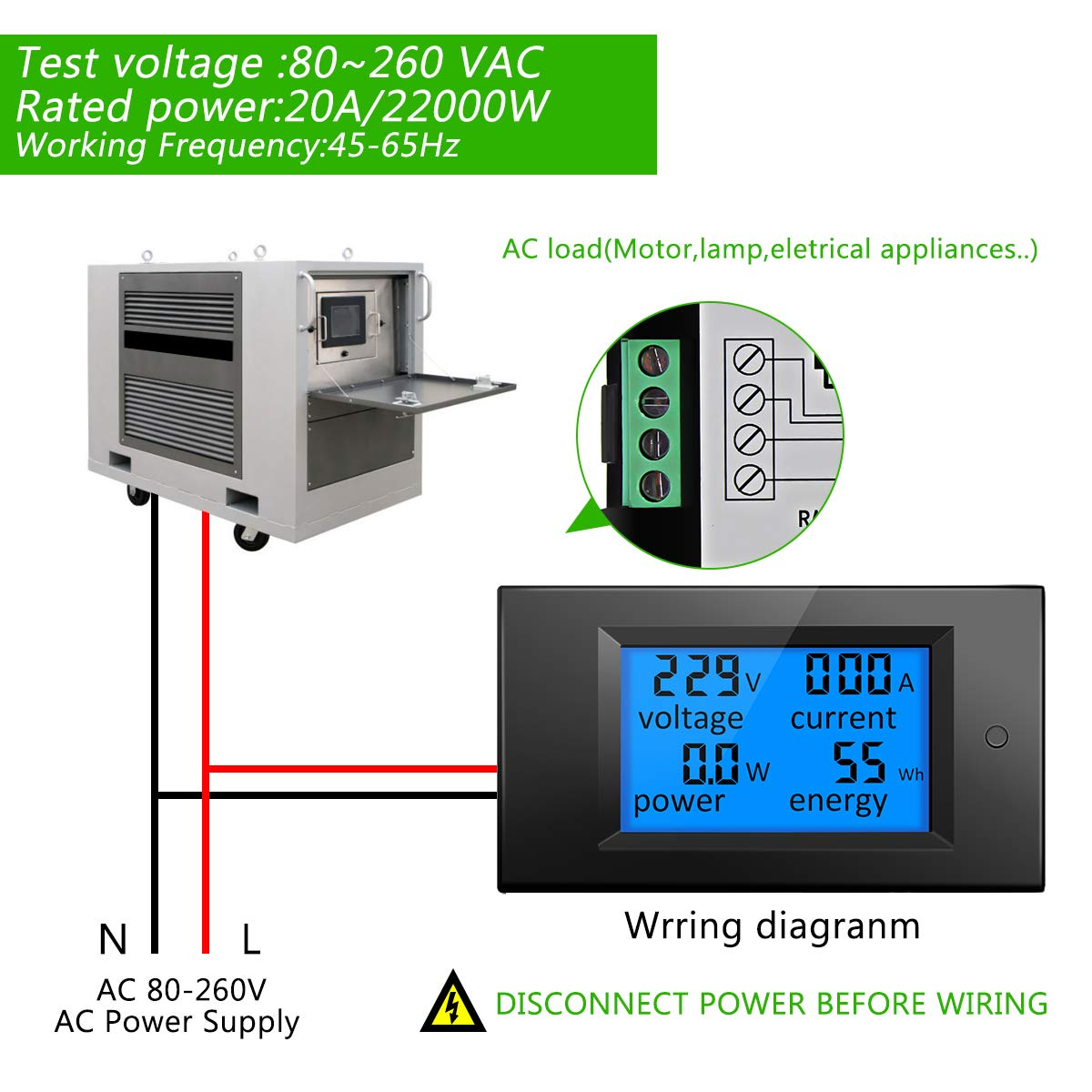 Elegiant Ac 80 260v 20a Digital Current Voltage Amperage Power Wiring Lcd Panel Meter Energy Ammeter Voltmeter Dc Volt Amp Testing Gauge