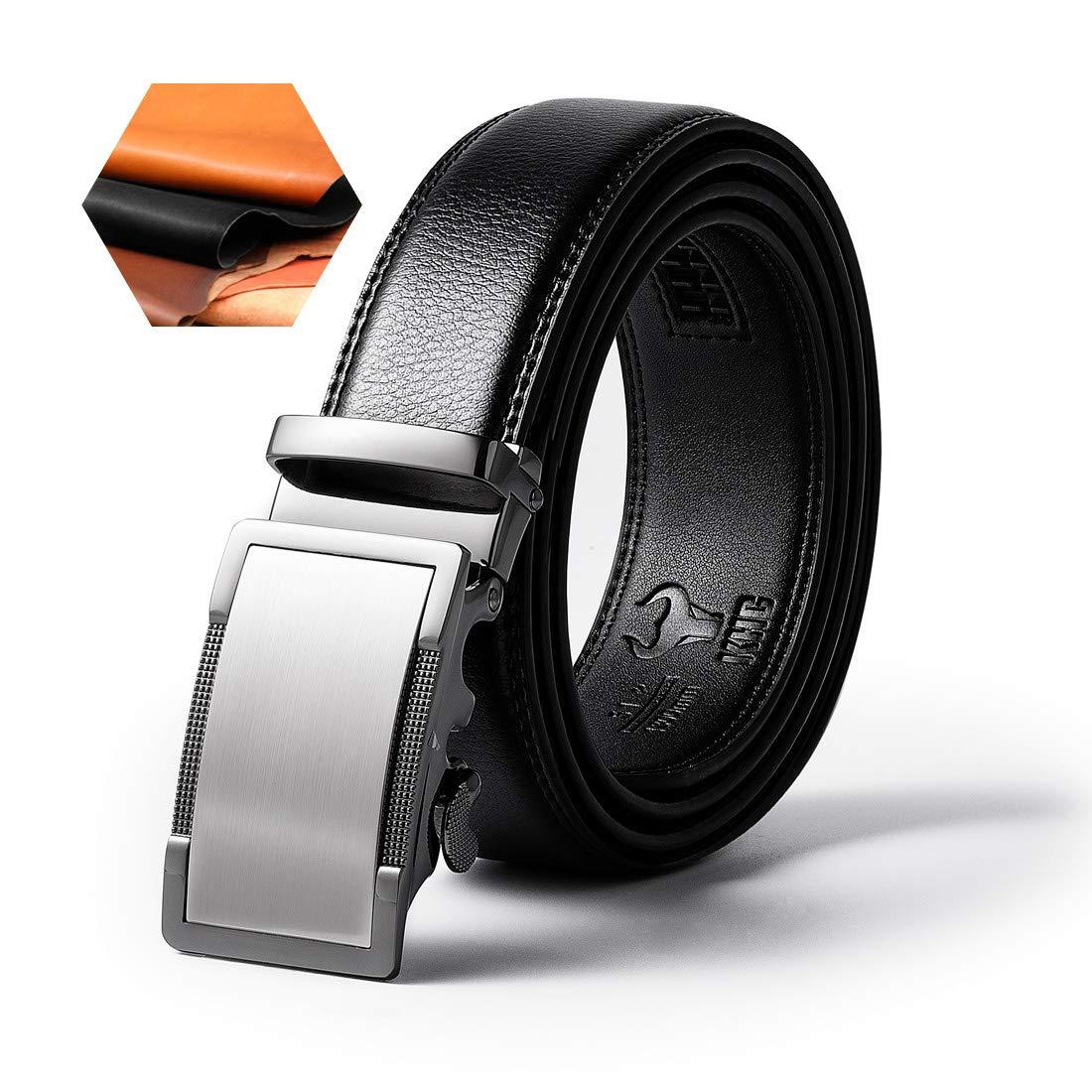 KHC Men's Belt High Quality Leather Ratchet Automatic Adjustable Buckle Black apparel-belts
