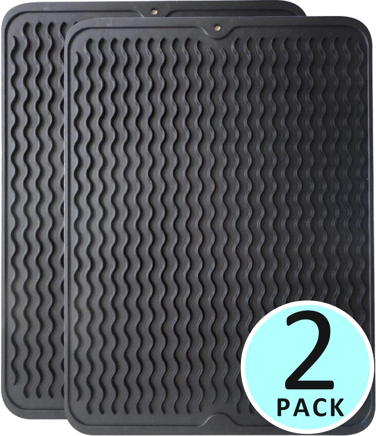 Carrotez 2 Pack Silicone Drying Mat (Large 15.7''x12''x0.25''), Non-Slip Silicone dish drying mat, Easy Clean Dishwasher Safe Heat Resistant Eco-Friendly Trivet, Pot Holder,Dish Rack - Black