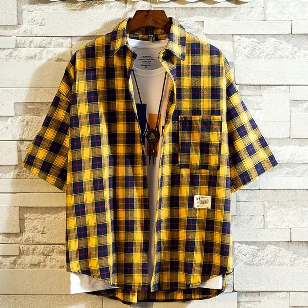 beautyjourney Camisa Casual de los Hombres Camiseta a Cuadros de Verano Camisa Holgada de Manga Corta con Cuello Alto y botón Blusa Simple y Comoda Tops: Amazon.es: Ropa y accesorios