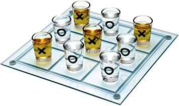 Tic Tac Toe Drinking Shot Glass Fun Set – Unique for Table / Desk / Floor / Indoor / Outdoor Brain Family Board Games / IQ Game / Puzzle/ XOXO - Gifts