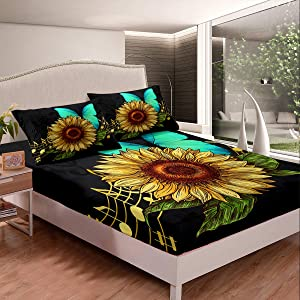 Erosebridal Sunflower Bedding Fitted Sheets Full Size, Music Notes Floral Leaf Sheet Set Butterfly Bed Cover Set, Girly Modern Bed Cover Set, Soft Breathable for Room Decor, Black Yellow