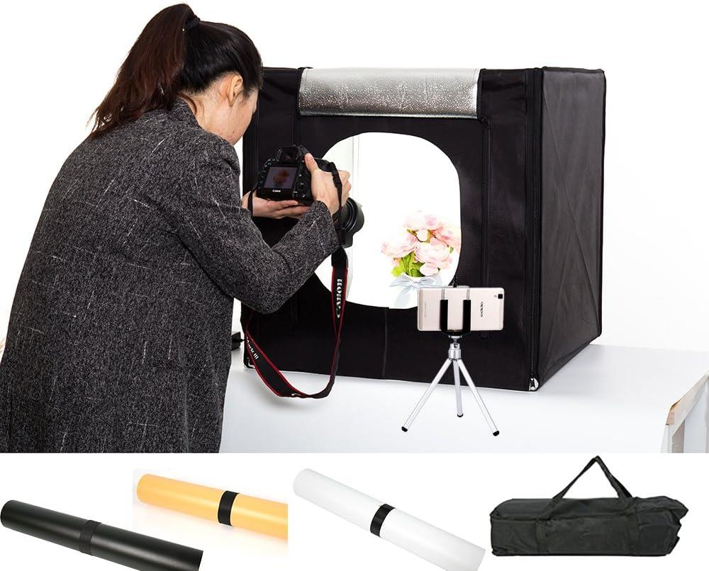 15.7 * 15.7 inch Mini Photo Studio Portable Lighting Box Shooting Tent Foldable Photography Lighting Kit 6 Color Backgrounds LED Lights Adjustable