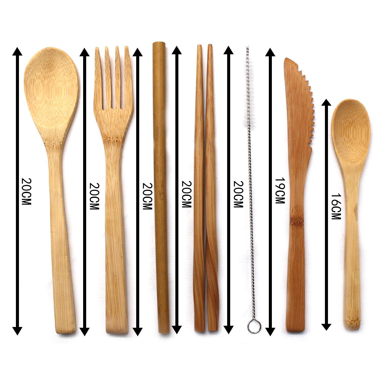 Posate Portatili per Campeggio Set di Posate da Viaggio riutilizzabili forchette Coltelli da Bacchette cucchiai di cannucce e spazzole Picnic U/&X Utensili di bamb/ù Pranzo Ufficio