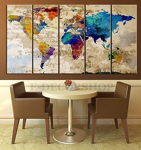 World map canvas print contemporary 5 panel colorful abstract world map canvas print contemporary 5 panel colorful abstract rainbow colors large wall art gumiabroncs Choice Image