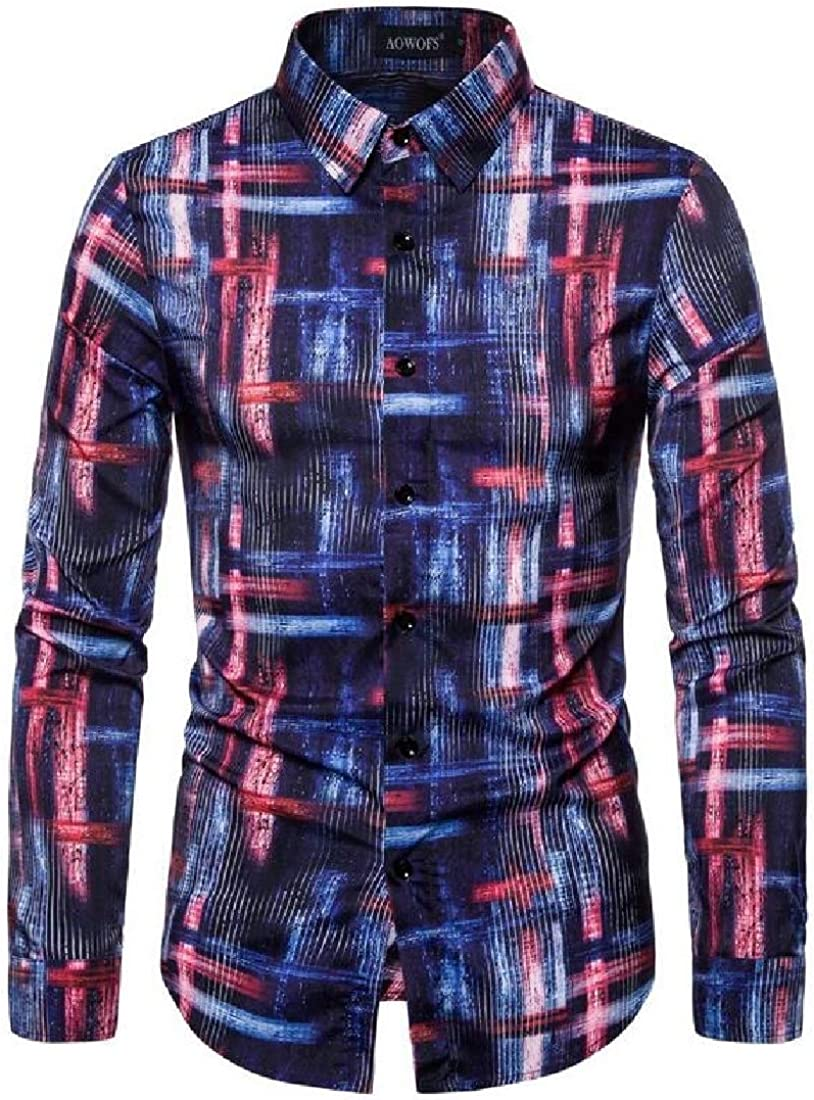 Fubotevic Mens Stretch Long Sleeve Print Button Down Color Block Casual Business Shirt