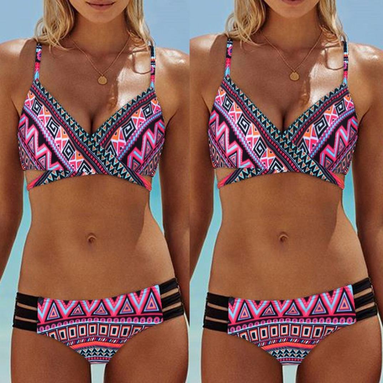 Sonnena sexy estampado floral bikini mujer de dos piezas,hombros planos cintura alta traje de bano push up talla extra ropa de playa sujetador con relleno ...
