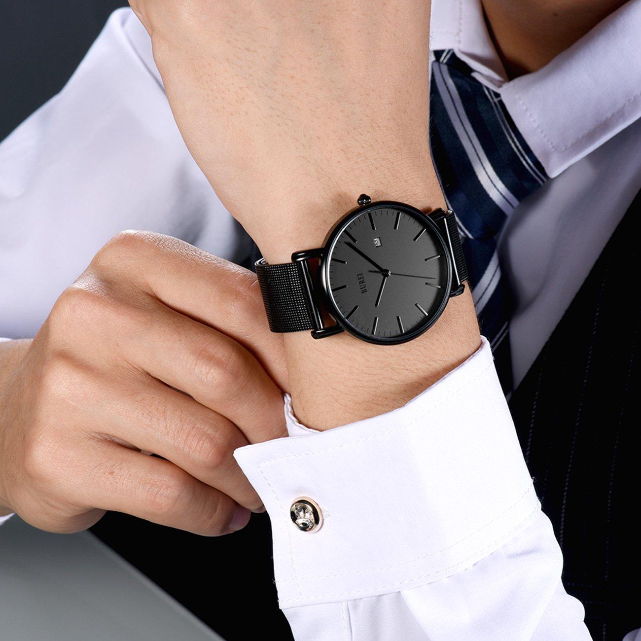 BUREI Men's Fashion Minimalist Wrist Watch Analog Deep Gray Date with Black Mesh Band by BUREI (Image #3)