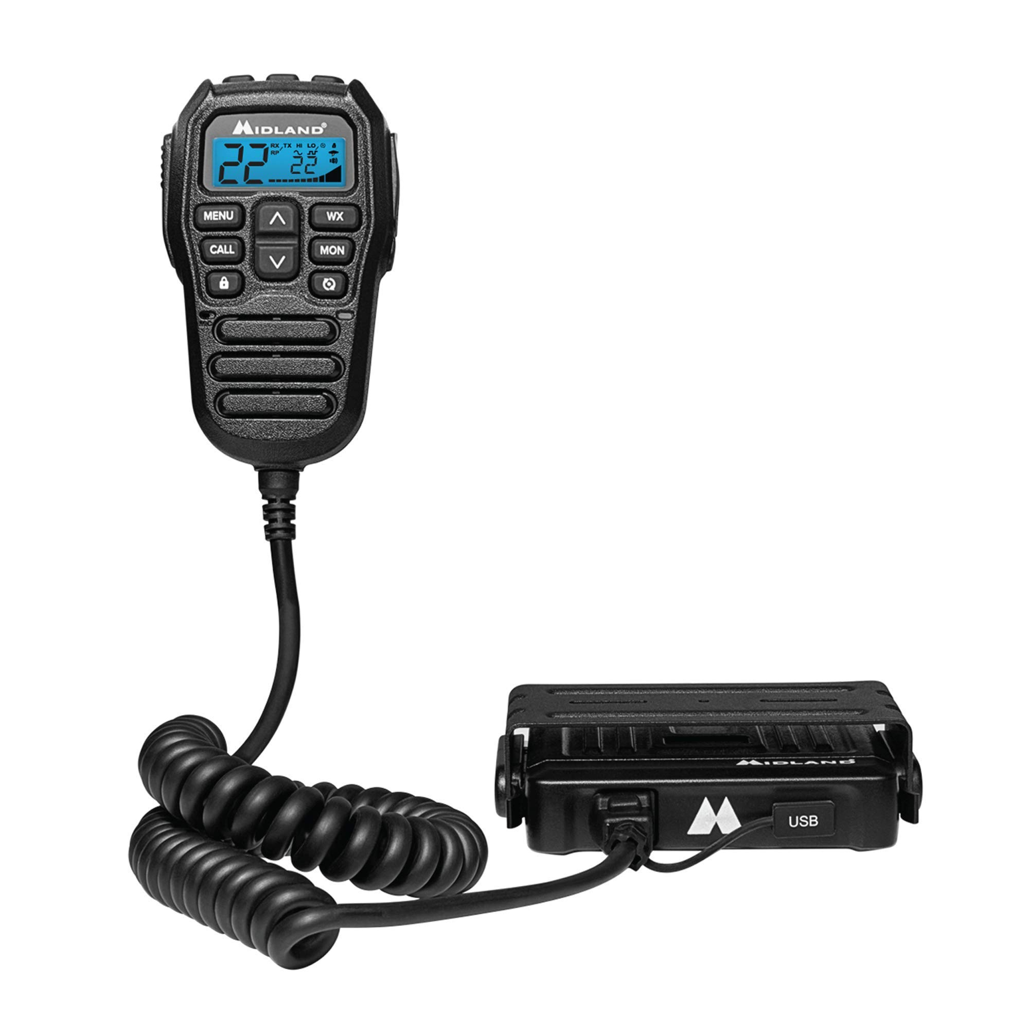 Midland MXT275 MicroMobile 15W GMRS Two-Way Radio with Integrated Control Microphone by Midland