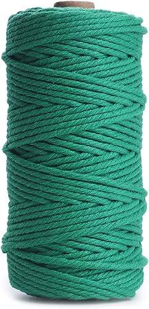 pour plantes corde torsad/ée 100/m loisirs cr/éatifs tricot 100 m Green 3 brins fournitures pour d/écoration murale /à suspendre Ailinda Fil en coton naturel pour macram/é