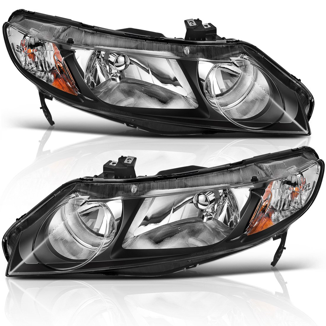 AUTOSAVER88 Headlight Assembly for 06 07 08 09 10 11 Honda Civic 4-Door Headlamp with Amber Park Lens,Black Housing Amber Reflector, One-Year Warranty (Passenger And Driver Side)