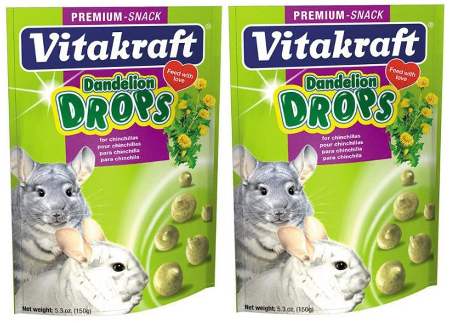 (2 Pack) Vitakraft Dandelion Drops for Chinchillas (5.3 Ounces Per Pack)