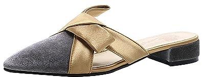 Damen Tuoxie 3CM Westernabsatz Schlüpfen Hausschuhe Schuhe, Grau, 35.5 Calaier