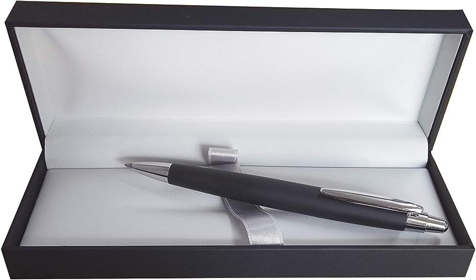 Inoxcrom Zeppelin - Bolígrafo de gel con caja, color negro mate, acabado cromado: Amazon.es: Oficina y papelería