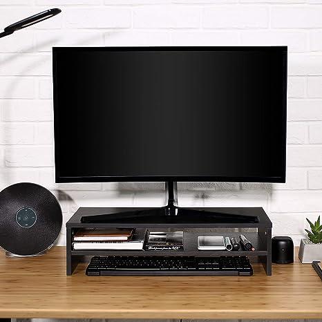 HOMFA Soporte de Monitor Elevador de Pantalla Organizador para Escritorio Ordenador con Almacenamiento Negro 54X25.5X14cm: Amazon.es: Hogar