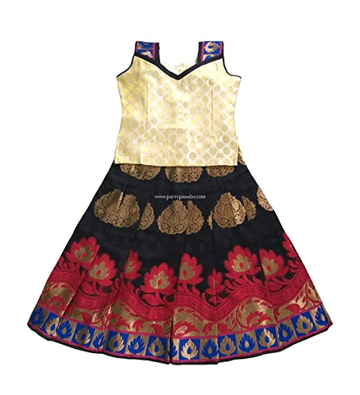 27a1f31d3e3053 Pattu Pavadai Chanderi Fancy Langa Cream and Black for Baby Girls   Kids -  6 Year