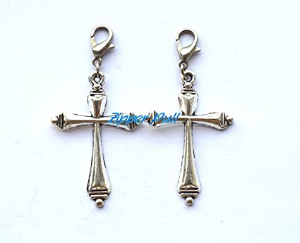 New Antique Silver Plated Alloy Cross Charm Zipper Pull Clip On Handcrafted