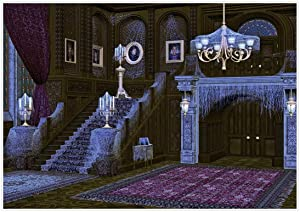 Allenjoy 7x5ft Halloween Haunted Backdrop Middle Ages Retro Spooky Deserted Mansion Spider Web Stairs Background Decor Photography Photoshoot Studio Booth Props