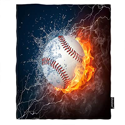 Moslion Baseball Throw Blanket Summer USA Sport Ball in Burning Fire Flame and Water Blanket Home Decorative Flannel Warm Travel Blankets 30x40 Inch for Pet Dog Cat Blue Orange: Home & Kitchen