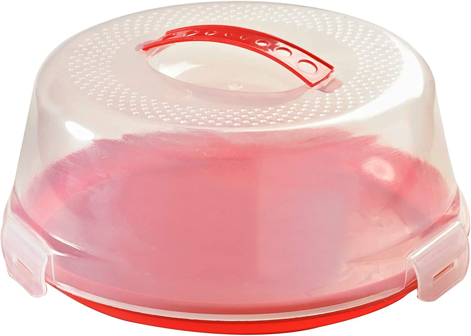 Mason Cash Round 24 cm Cake Caddy with Lid Carry Handle and Easy Locking System Red 26 x 26 x 12 cm