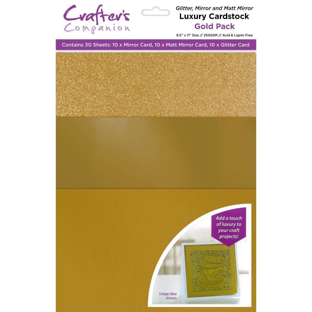Crafters Companion CP-LMIX-GOLD811 Mixed Card Pack-Gold Luxury Cardstock,