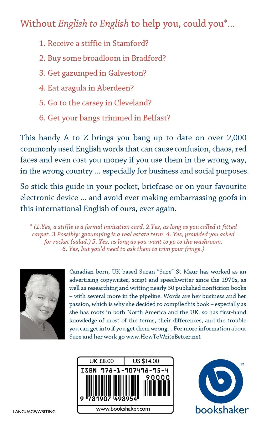 English to English: The A to Z of British-American Translations: Suzan St  Maur: 9781907498954: Amazon.com: Books