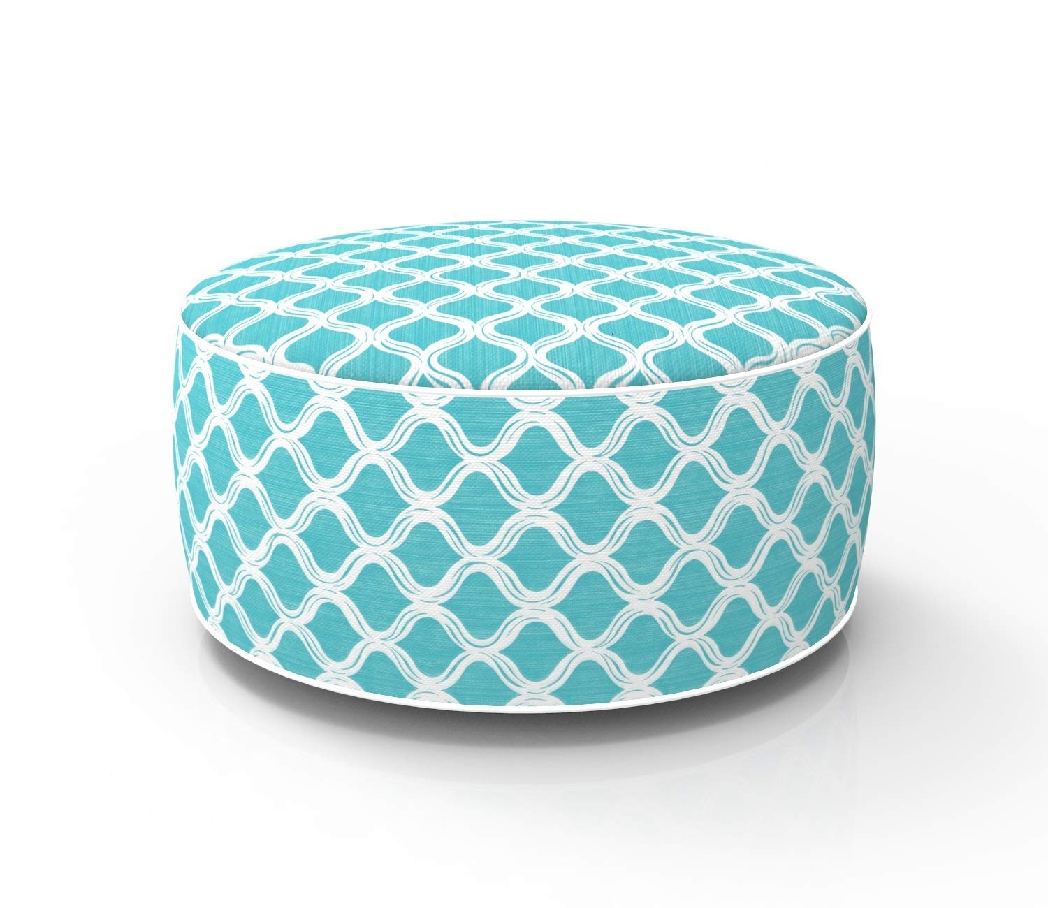 Fabritones Outdoor Inflatable Stool Blue Round Ottoman Portable Foot Rest for Patio, Camping Home Yoga - Suitable for Kids and Adults