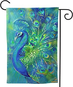 "UTWJLTL Garden Flag Colorful Feather Peacock Bird Decorative Flag Double Sided 12.5"" X 18"" Weather Resistant Outdoor Welcome Flag for Yard Patio Garden Outdoor Decor"
