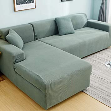 Strange Polyester Stretch Sectional Sofa Slipcovers Universal Anti Slip Sofa Covers Furniture Protector For 1 2 3 4 Food L Shape Couch Green 3 Seats Right Pabps2019 Chair Design Images Pabps2019Com