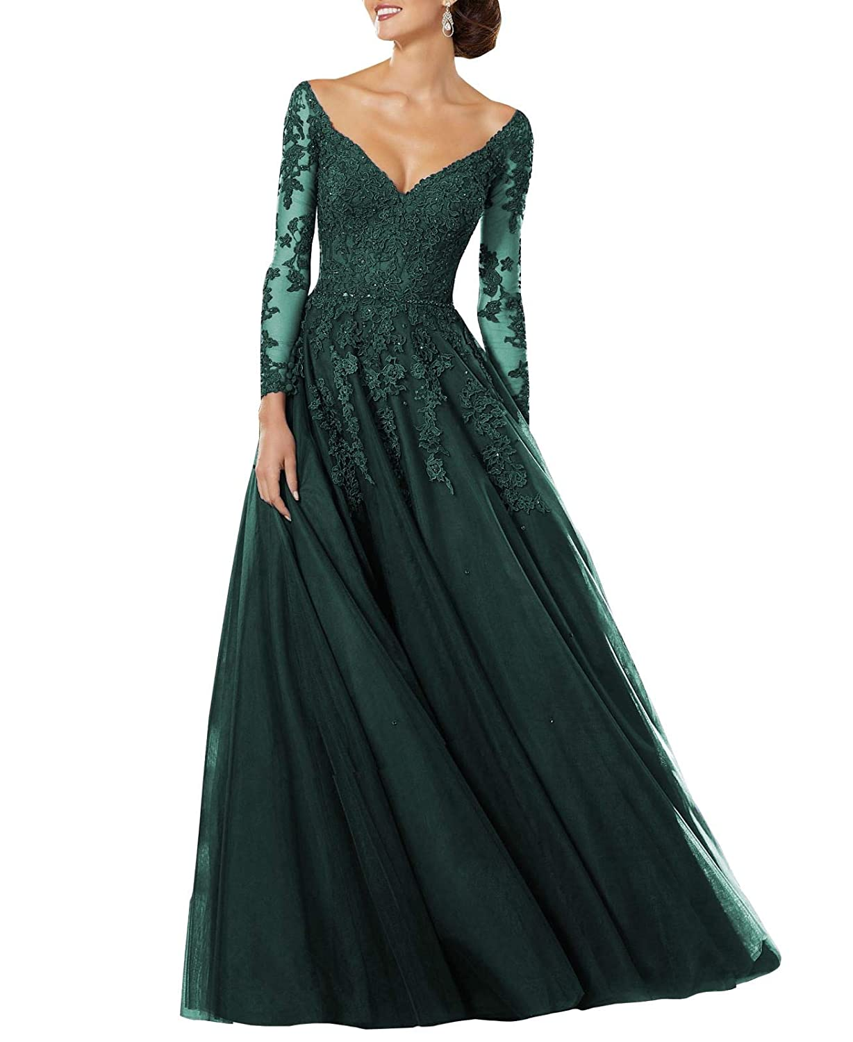 Dark Green Wanshaqin Women's Lace Appliqued VNeck Formal Evening Gown Sleeves Tulle Party Dress with Empire Jewelled Waist
