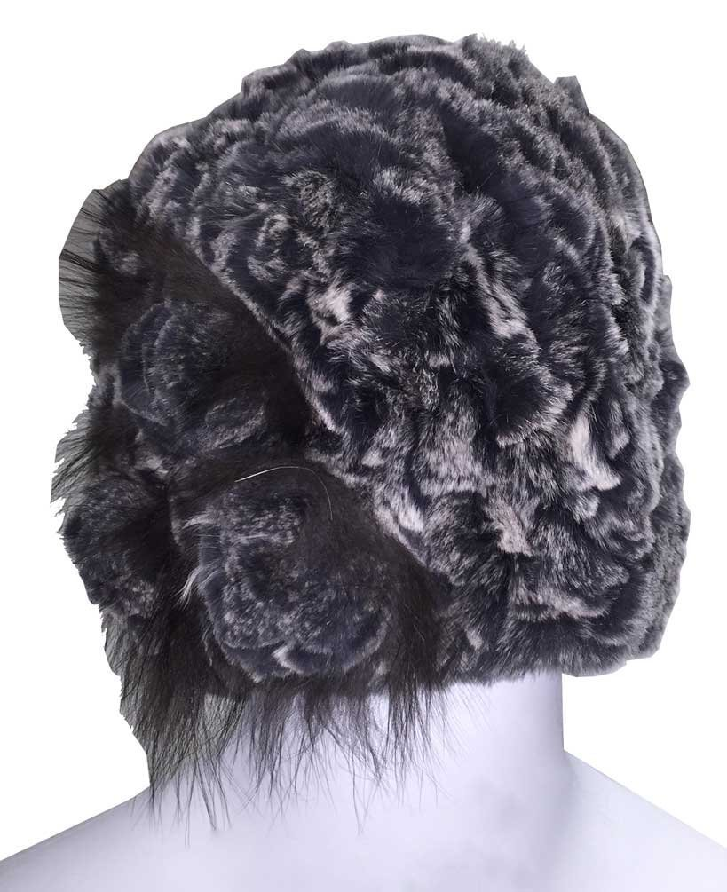 Northstar Women's Knitted Rex Rabbit Fur Fashion Beanie Hat, Grey/White. H-32