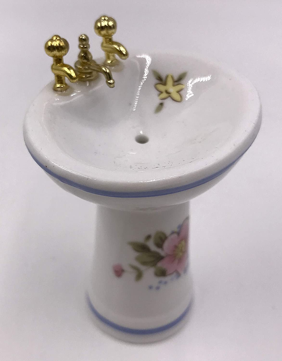 White Ceramic Dollhouse Bathroom Set//4 Floral Designs Brass Colored Faucets Toilet Footed Tub Sink Mirror 1:12 Scale