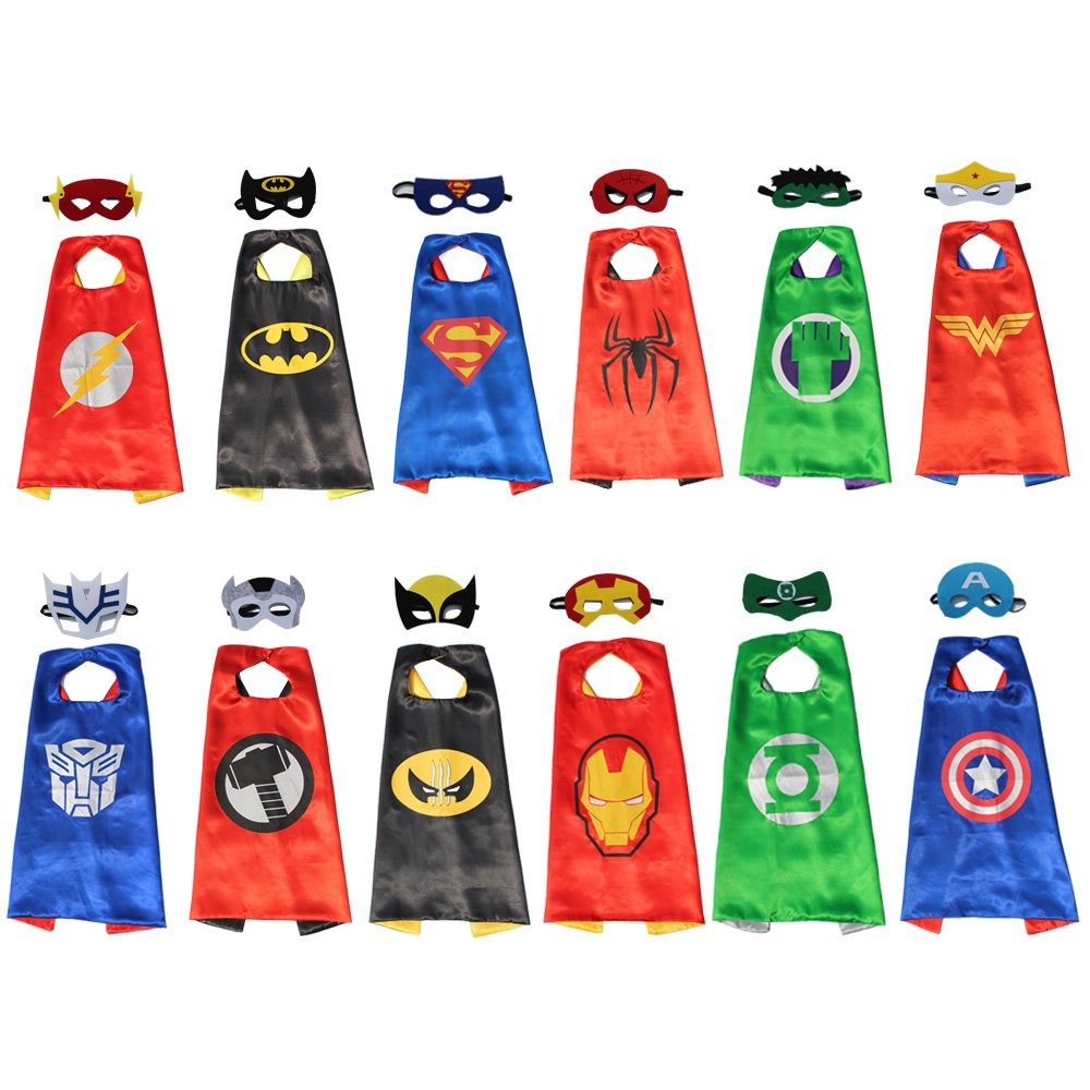 XKX Comics& Superhero Dress Up Costumes Cape and Mask ,12 Set