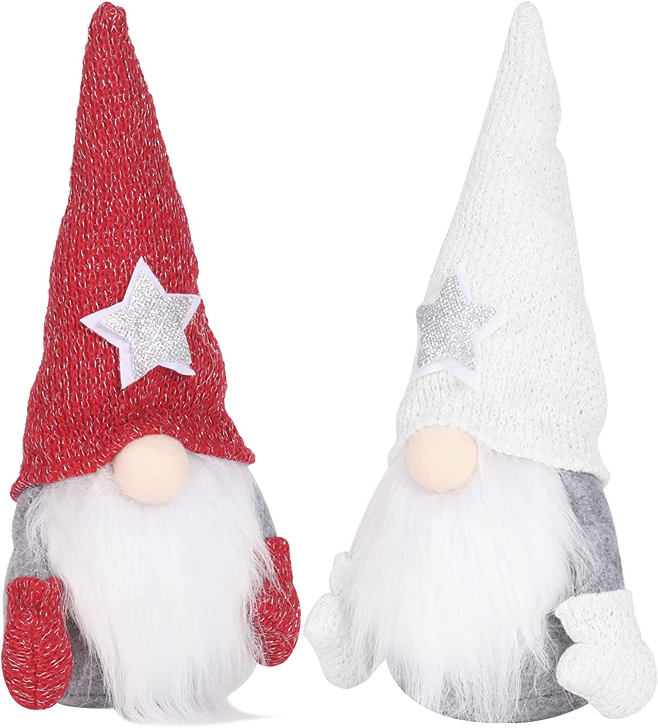 Cotill Christmas Gnome Plush, 2pcs Holiday Gnomes Scandinavian Swedish Tomte Set Figurines Christmas Ornaments Christmas Decoration for Home Table Decor - 11.5 Inches (White and Red)