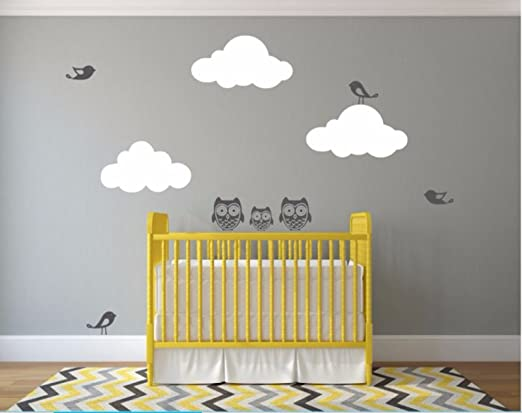 Nursery Wall Decal - Owls And Birds With Clouds Nursery Wall Sticker (Dark Grey/White)