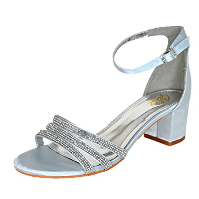 c33d4b193b9 Ladies Diamante Satin Block Heel Shoes Low Heel Ankle Strap Sandals Evening  Size UK 3